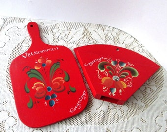 Red Home Decor Mock Cutting Board, kitchen wall hanging pair  and Pocket Holder Norwegian Tole Artwork Hand Painted Wood