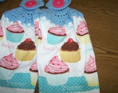 Cupcakes Cupcakes and More Cupcakes- Crocheted Hanging Kitchen Towels - set of 2 - Very cute and colorful
