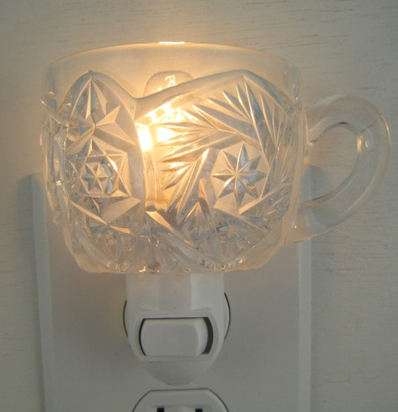 Star Pattern Pressed Glass Punch Cup Custom  Night Light With Handle