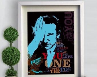 Print U2 Rock illustration poster music  Birthday Gift art canvas  Portrait print decor  Wall poster  canvas giclee