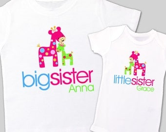 big sister, little sister matching shirts - adorable giraffe matching sibling set for any big/little combination