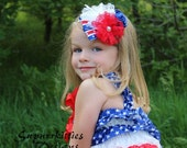4th of July Baby Headband - Red, White, & Blue Flower Headband - Patriotic Photo Prop - Lace Rosette Baby Headband