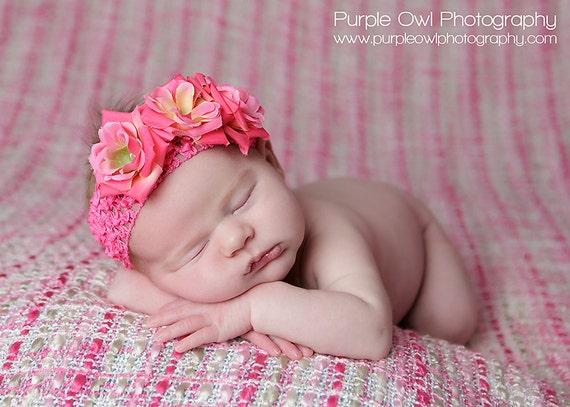 Pink Baby Flower Headband - Hot Pink Newborn Crochet Baby Headband - Toddler/Girl Rose Crochet Flower Headband Photo Prop