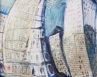 Flatiron Building. New York City - Original mixed media, collage, Illustration, small painting, Manhattan,