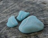 Set of Three Dotted Beach Milk Glass in Shades of Blue