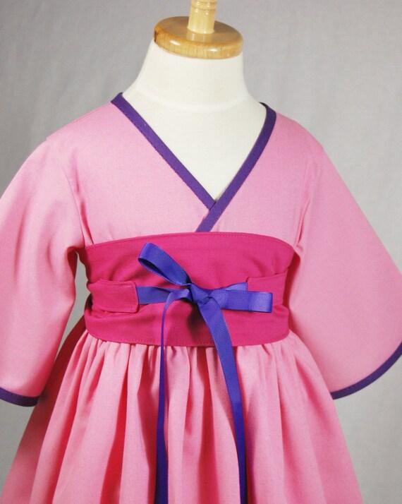 little girls dress mulan kimono style by pinkmousekids on etsy