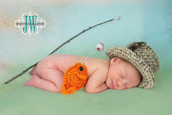 Items similar to Baby Boys Fishing Hat w Fish SET Newborn