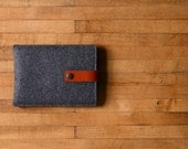 Kindle Sleeve - Charcoal Felt and Brown Leather
