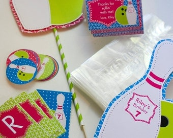 Bowling Birthday PRINTABLE Party Decorations - You Customize EDITABLE TEXT >> Instant Download | Paper and Cake
