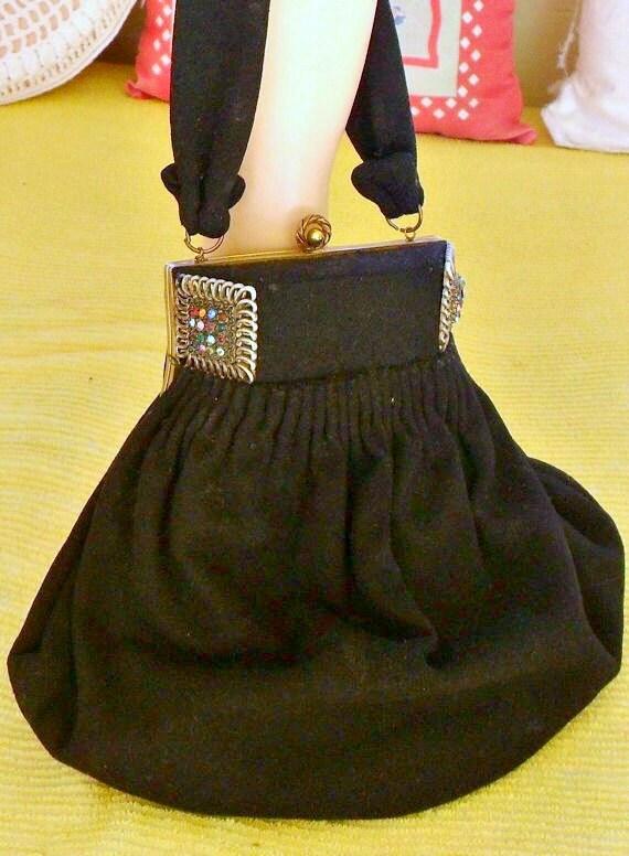 Vintage 1920s Purse with Rhinestones Handbag Wool Flapper Bag