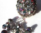 Kaleidoscope Aurora Borealis Vintage Japan Crystal Adjustable Cocktail Ring and Earring Set