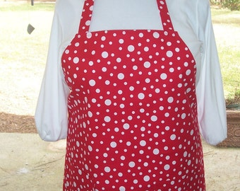 Plus Size Apron, Red and White Apron, Polka Dot Apron, Kitchen Apron, Bib Apron, Pocket Apron, Butcher Apron, Cotton Aprons, Barbecue Aprons