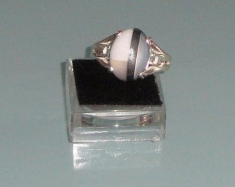 Mosaic Gemstone Cabochon Howlite Mother of Pearl Hematite Sterling Silver Ring
