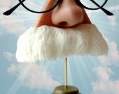 Nose eyeglasses holder, white mustache, Albert Einstein, Mark Twain, Father gift, eyewear display, sunglasses stand,