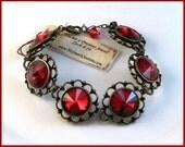 New Vintage Victorian Siam Red Rivoli Crystal Link Jewelry Steampunk Bracelet