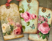 SHABBY CHIC GIFT Tags No1 - Digital Collage Sheet Printable Download Images Vintage Paper Scrapbook Jewelry Holders hang tags by Art Cult