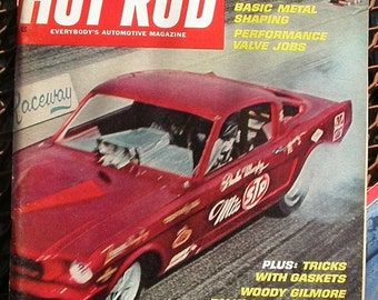 Hot Rod, vintage March 1967 magazine,  Mustang, dragsters, hot rods, gas station, man cave, bench racing, ratrods