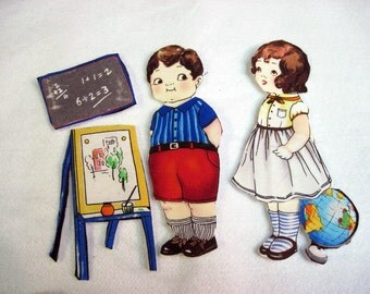 Child Fabric Paper Dolls  Travel Toy Playset with holder School days Gift