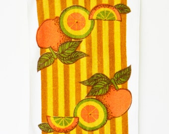 Vintage Dish Towel in Citrus Stripes / Vintage Hand Towel / Retro Fruit Handtowel / Oranges and Stripes