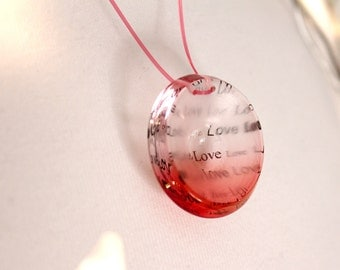 Love Letter Necklace, Red Pink Valentines Pendant on Wire, Handmade Jewelry