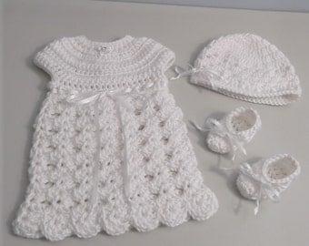 Newborn Going Home Crochet Dress - Hat - Booties - Made To Order