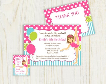 Gymnastics Invitation and party items printable - Digital files