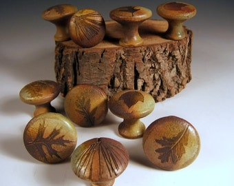 10 cabinet knobs drawer pulls fall leaves earth tones woodland rustic cabin with tree leaves in Change of Seasons Glaze