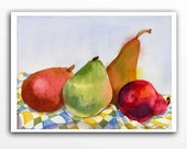 Pear, Fruit Art - Watercolor Original Painting - Still Life - Dining Room Art Garden Realistic Fruit, Wall Decor Kitchen Decor - 7.25 x 9.25
