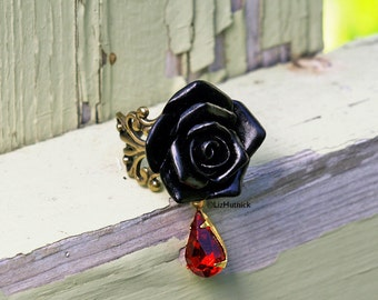 Black Gothic Rose Ring with a Vintage Red Glass Drop - Gothic Vamp Statement Ring, Gothic Valentine, Morgana