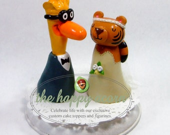 ANY ANIMALS Custom Wedding Cake Topper - Your Choice of Animals - Fully Customizable - Handmade by The Happy Acorn