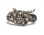 Glittering Pearl & Plume Cuff - Made from Repurposed Cut Steel, Crystal and Natural Pearls   - Handmade by Ruby In The Dust