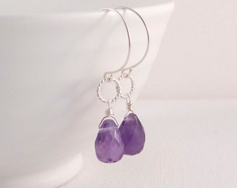 Purple Amethyst Drop Earrings