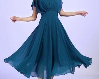 Blue chiffon dress woman Prom dress Custom made maxi dress (613)