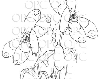 Digital Stamp Peek-a-boo Dragonflies