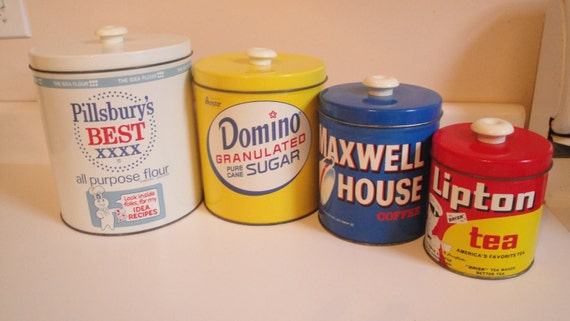 Vintage Canister Set Pillsbury Domino Maxwell Lipton Set Of 4