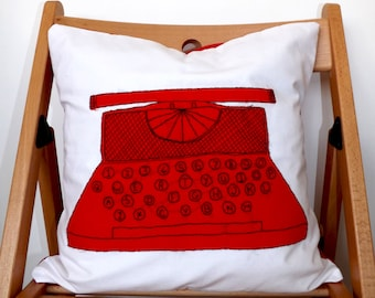 FREE SHIPPING Red Typewriter Embroidered Cushion Cover