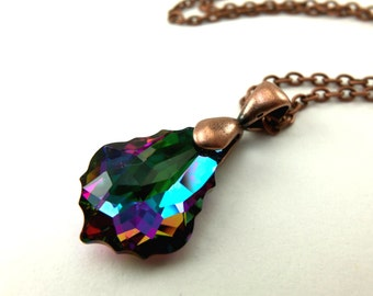 Dark Rainbow Necklace Copper Rainbow Crystal Necklace Antiqued Copper Necklace Swarovski Multi Colored