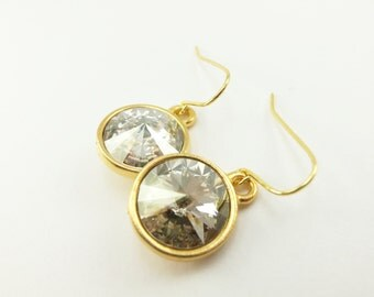 Silver Shade Gold Drop Earrings Crystal Drop Earrings Gold Earrings Crystal Earrings Smoky Dangle Earrings