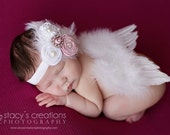 Set with headband. The Original Baby Angel wings by Chicaboo, Ready to ship. Great newborn photography prop. Headband included