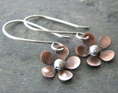 Custom Order for CK - Copper Flower Sterling Silver Earrings Artisan Mixed Metal Jewelry - Made to Order