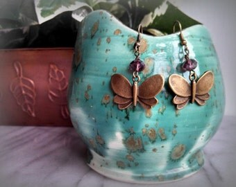 Vintage butterfly earrings, antique bronze, purple, plum, dangle