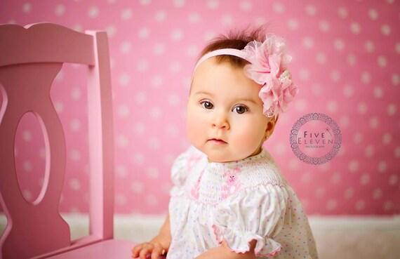 Pink Flower Headband - Ballet Pink Lace Rose Flower w/ Pearls Pink Headband or Hair Clip - The Annabelle - Baby Toddler Child Girls Headban