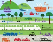 Trains, Cars, Tugboats and Planes Print - Archival Art Print - Transportation Decor - Nursery Decor - Boys Room Decor - Typography Print