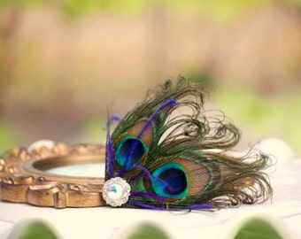 Fancy Peacock & Purple Hair Clip / Comb. Couture Bride Bridal Maid of Honor, Spring Stylish Bachelorette, Silver Flower Metallic Iridescent