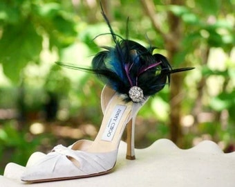 Shoe Clips Royal Blue & Navy Feathers by Sofisticata. Rhinestone Crystals, Bride Bridal Bridesmaid Gift, Couture Lush Purple, Edgy Statement