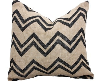 Burlap Chevron Pillow Cover // Decorative Throw Pillow // ONE 16x16 inch pillow cover // Black Chevron Burlap // Free U.S. Shipping