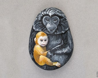 Painted Rock Monkey Baby and Mother  Hand Painted Stone