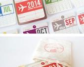 2014 Calendar, wall calendar inspired by vintage airline baggage tags, cute 2014 calendar - GirlinGearStudio