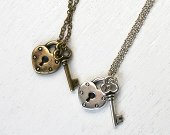 Open Your Heart - Key and Lock Necklace (Antique Silver or Antique Brass)