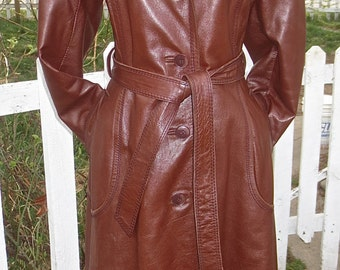 Vintage 1970's Buttery Brown Leather Woman's Knee Length Coat- Mod or Steampunk Jacket
